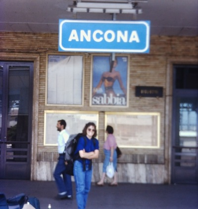 With all the talk of tracks, I thought it would be fun to include an old photo (thanks, Jen!) of me at the train station in Ancona, Italy.